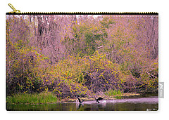 Carry-all Pouch featuring the photograph Birds Playing In The Pond 2 by Madeline Ellis