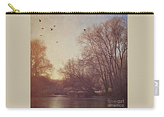 Carry-all Pouch featuring the photograph Birds Take Flight Over Lake On A Winters Morning by Lyn Randle