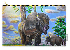 Carry-all Pouch featuring the painting Bison Acrylic Painting by Thomas J Herring
