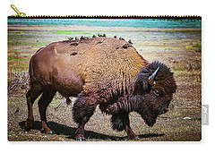 Bison And The Birds Carry-all Pouch by Mary Hone