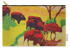 Bison Art Bison Crossing Stream Yellow Hill Painting Bertram Poole Carry-all Pouch by Thomas Bertram POOLE