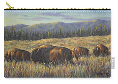 Carry-all Pouch featuring the painting Bison Bliss by Kim Lockman
