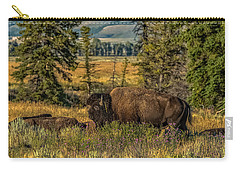 Carry-all Pouch featuring the photograph Bison Bull Herding Cows by Yeates Photography