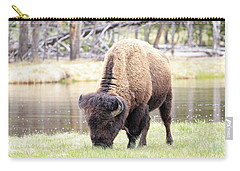Bison By Water Carry-all Pouch by Steve McKinzie