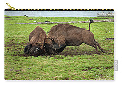 Bison Fighting Carry-all Pouch by Cindy Murphy - NightVisions