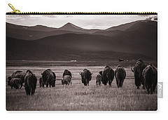 Bison Herd Into The Sunset - Bw Carry-all Pouch