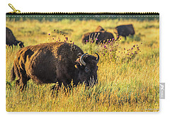 Carry-all Pouch featuring the photograph Bison In Autumn Gold by Yeates Photography
