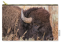 Bison In The Grass Carry-all Pouch by Mary Hone