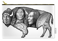Bison Indian Montage 2 Carry-all Pouch by Greg Joens
