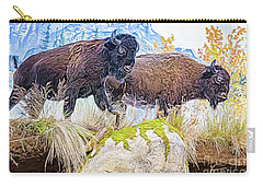 Carry-all Pouch featuring the digital art Bison Pair by Ray Shiu