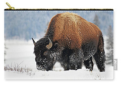 Bison Roaming In The Lamar Valley Carry-all Pouch