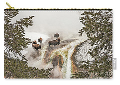 Carry-all Pouch featuring the photograph Bison Taking A Steam Bath by Sue Smith