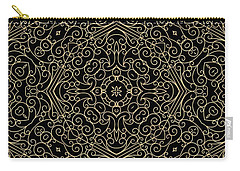 Black And Gold Filigree 002 Carry-all Pouch