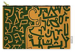 Carry-all Pouch featuring the digital art Black And Orange Klee by Vagabond Folk Art - Virginia Vivier