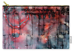 Carry-all Pouch featuring the painting Black And Red Encaustic 4 by Nancy Merkle