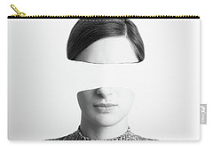 Black And White Abstract Woman Portrait Of Identity Theft Concept Carry-all Pouch by Radu Bercan