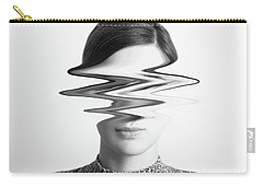 Black And White Abstract Woman Portrait Of Restlessness Concept Carry-all Pouch by Radu Bercan