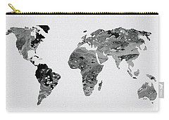 Black And White Art World Map Carry-all Pouch