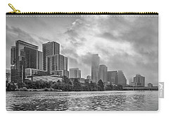 Black And White Austin Skyline On A Foggy Morning 1 Carry-all Pouch