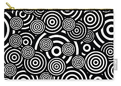 Black And White Bullseye Abstract Pattern Carry-all Pouch by Saundra Myles