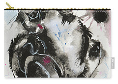 Carry-all Pouch featuring the painting Black And White Cat Sleeping by Zaira Dzhaubaeva