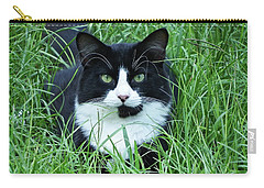Black And White Cat With Green Eyes Carry-all Pouch