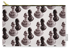 Black And White Chess Pawns Pattern Carry-all Pouch