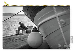 Black And White - Fisherman Cleaning Fish On Docks Of Kastel Gomilica, Split Croatia Carry-all Pouch
