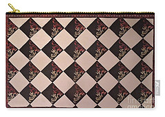 Black And White Checkered Floor Cloth Carry-all Pouch by Judith Espinoza