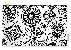 Black And White Floral Doodle Carry-all Pouch
