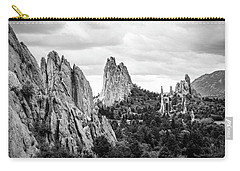 Carry-all Pouch featuring the photograph Black And White Garden Of The Gods by Marilyn Hunt