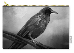 Black And White Gothic Crow Raven Art Carry-all Pouch
