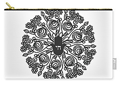 Carry-all Pouch featuring the mixed media Black And White Hamsa Mandala- Art By Linda Woods by Linda Woods