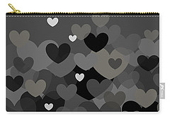 Black And White Heart Abstract Carry-all Pouch
