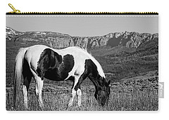 Black And White Horse Grazing In Wyoming In Black And White  Carry-all Pouch