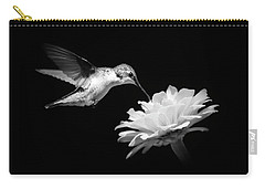 Carry-all Pouch featuring the photograph Black And White Hummingbird And Flower by Christina Rollo