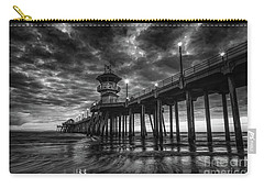 Black And White Huntington Beach Pier Carry-all Pouch