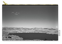 Black And White Landscape Photo Of Dry Glacia Ancian Rock Desert Carry-all Pouch