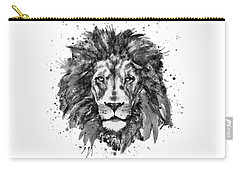 Carry-all Pouch featuring the mixed media Black And White Lion Head  by Marian Voicu
