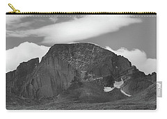 Carry-all Pouch featuring the photograph Black And White Longs Peak Detail by Dan Sproul