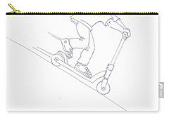 Black And White Micro Scooter Downhill Drawing Carry-all Pouch