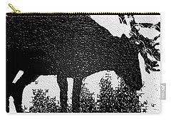 Black And White Moose Carry-all Pouch by Robert Margetts