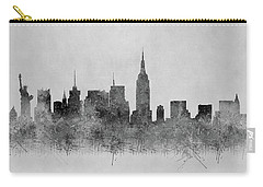 Carry-all Pouch featuring the digital art Black And White New York Skylines Splashes And Reflections by Georgeta Blanaru