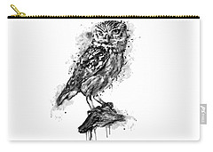Carry-all Pouch featuring the mixed media Black And White Owl by Marian Voicu