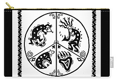Black And White Peace And Love Carry-all Pouch