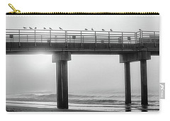 Carry-all Pouch featuring the photograph Black And White Pier Alabama  by John McGraw