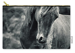Black And White Portrait Of Horse Carry-all Pouch
