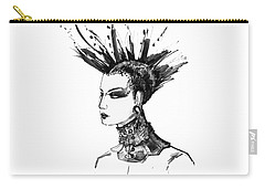 Carry-all Pouch featuring the digital art Black And White Punk Rock Girl by Marian Voicu