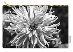 Black And White Ragged Dahlia Carry-all Pouch