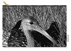 Black And White Resting Limpkin Bird Carry-all Pouch by Chris Mercer